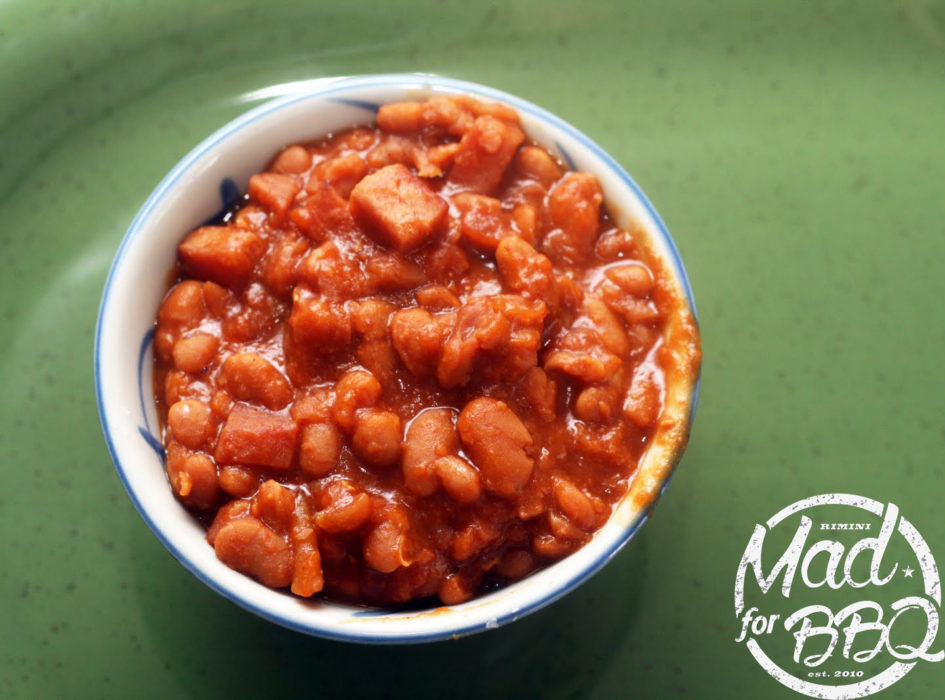 Baked Beans with some piece of smoked bacon