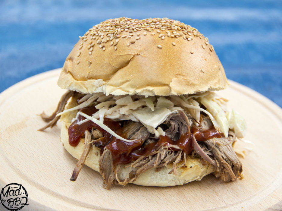 Delicious Pulled Pork Sandwich with homemade Bun and Barbecue Sause