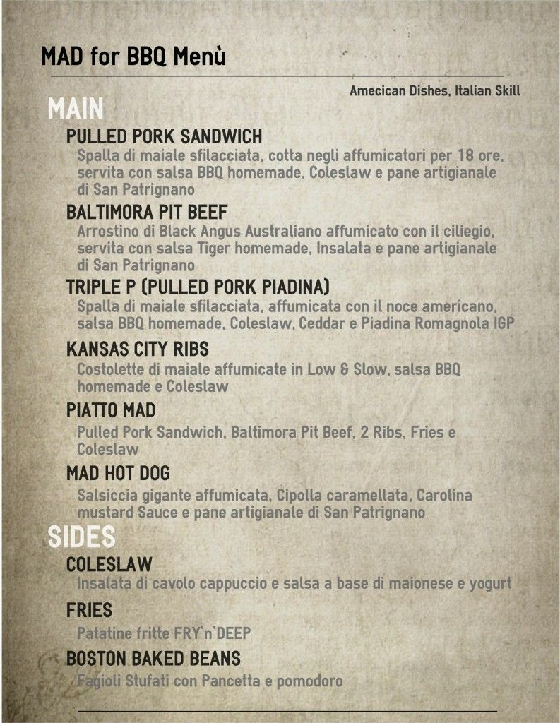 American Barbecue Menu with Mora Romagnola Pork